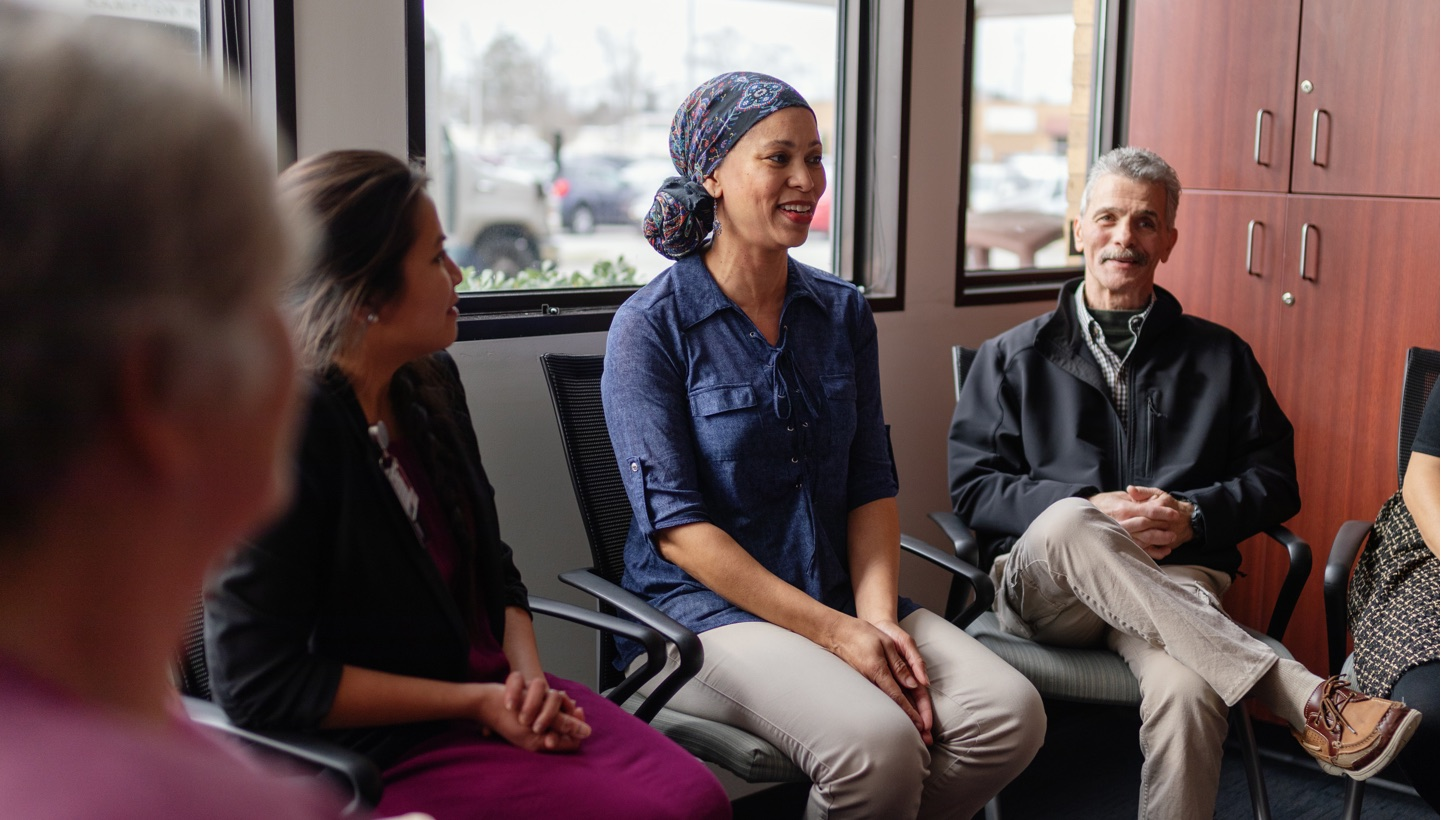 Breast Cancer Survivor Event   Patient in support group